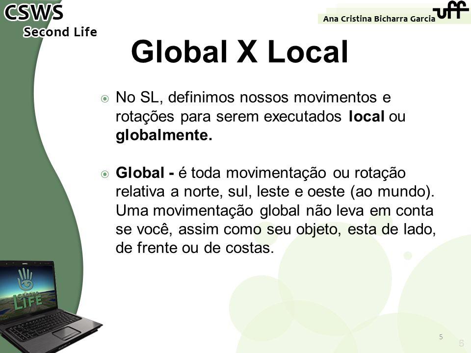 Global X Local No SL, definimos nossos movimentos e rotações para serem executados local ou globalmente.