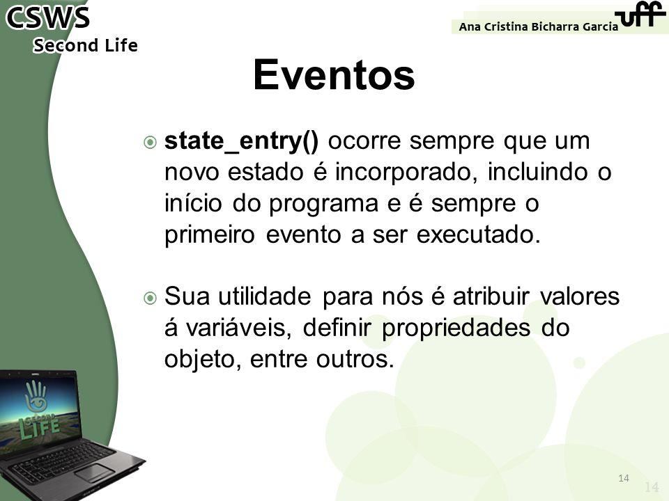 Eventos state_entry() ocorre sempre que um novo estado é incorporado, incluindo o início do programa e é sempre o primeiro evento a ser executado.