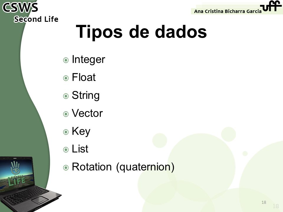 Tipos de dados Integer Float String Vector Key List