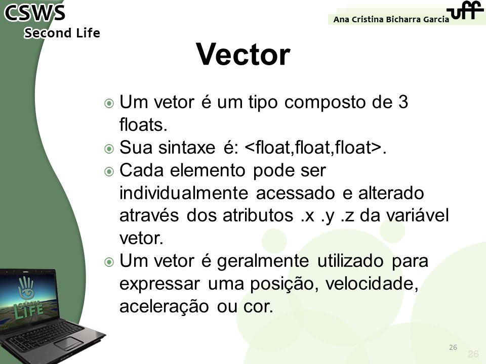 Vector Um vetor é um tipo composto de 3 floats.