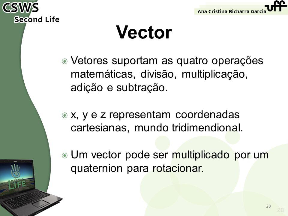 Vector Vetores suportam as quatro operações matemáticas, divisão, multiplicação, adição e subtração.
