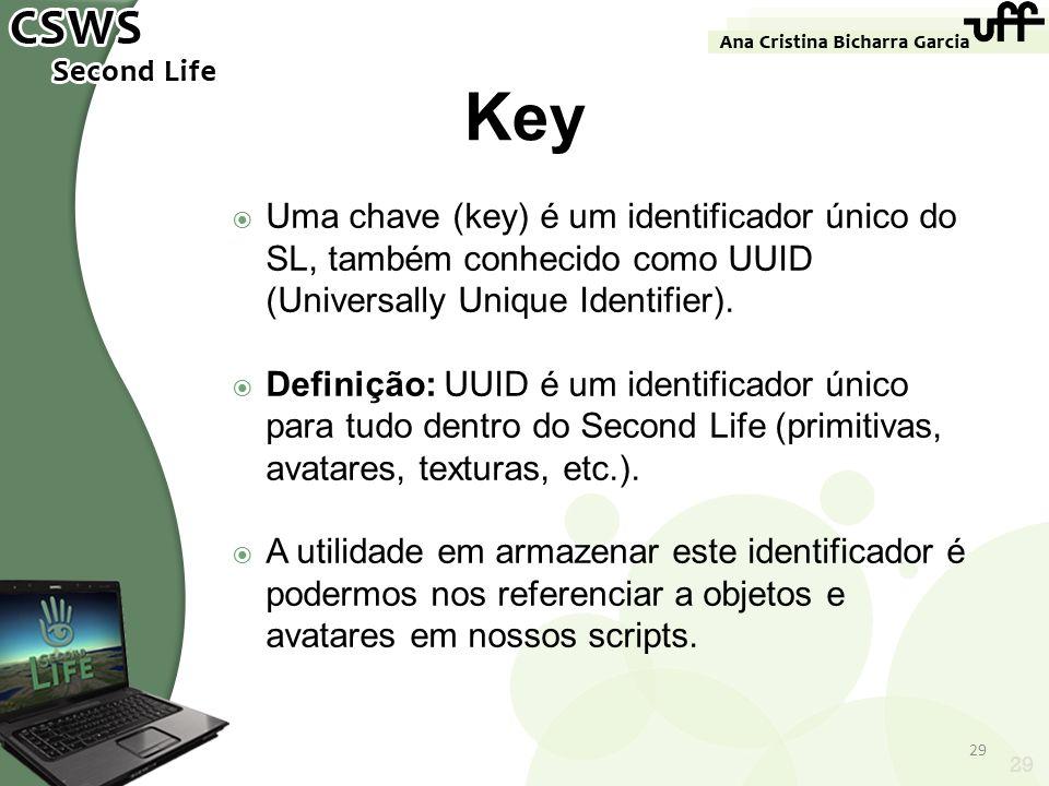 Key Uma chave (key) é um identificador único do SL, também conhecido como UUID (Universally Unique Identifier).