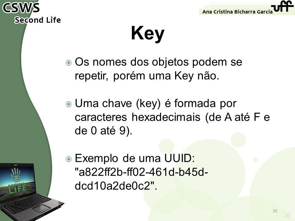 Key Os nomes dos objetos podem se repetir, porém uma Key não.