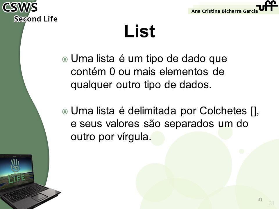 List Uma lista é um tipo de dado que contém 0 ou mais elementos de qualquer outro tipo de dados.
