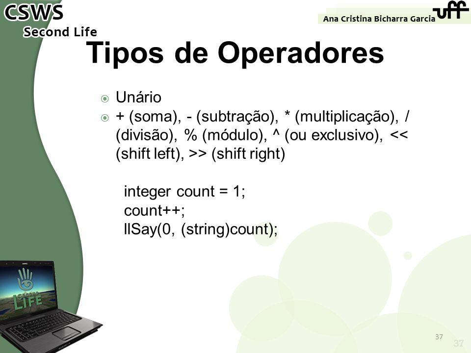 Tipos de Operadores Unário
