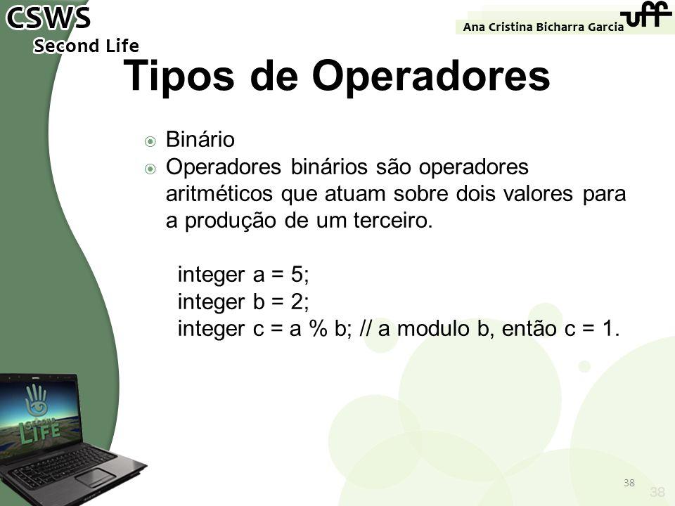 Tipos de Operadores Binário