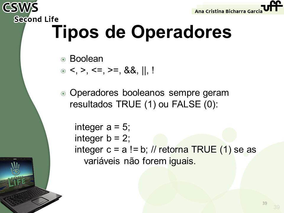 Tipos de Operadores Boolean <, >, <=, >=, &&, ||, !