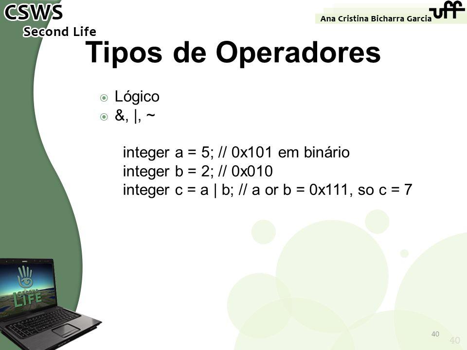 Tipos de Operadores Lógico &, |, ~ integer a = 5; // 0x101 em binário