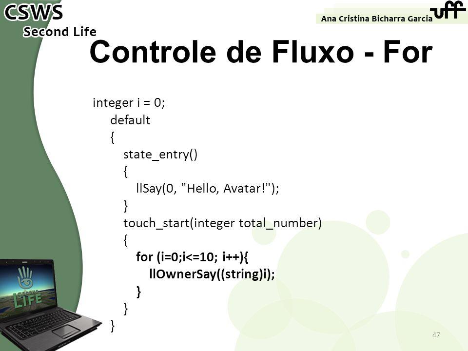Controle de Fluxo - For