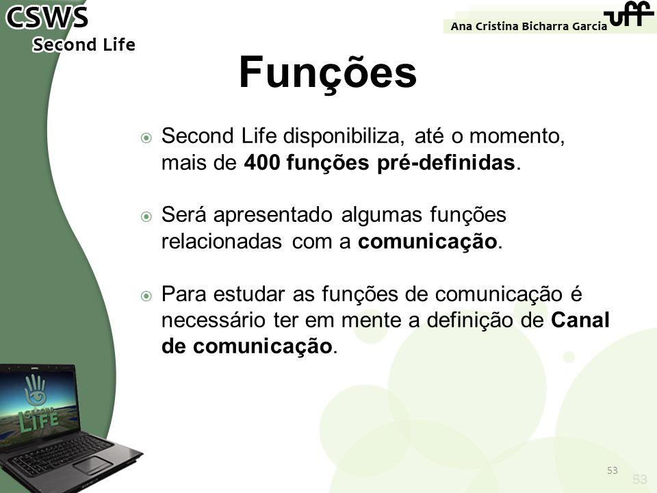 FunçõesSecond Life disponibiliza, até o momento, mais de 400 funções pré-definidas. Será apresentado algumas funções relacionadas com a comunicação.