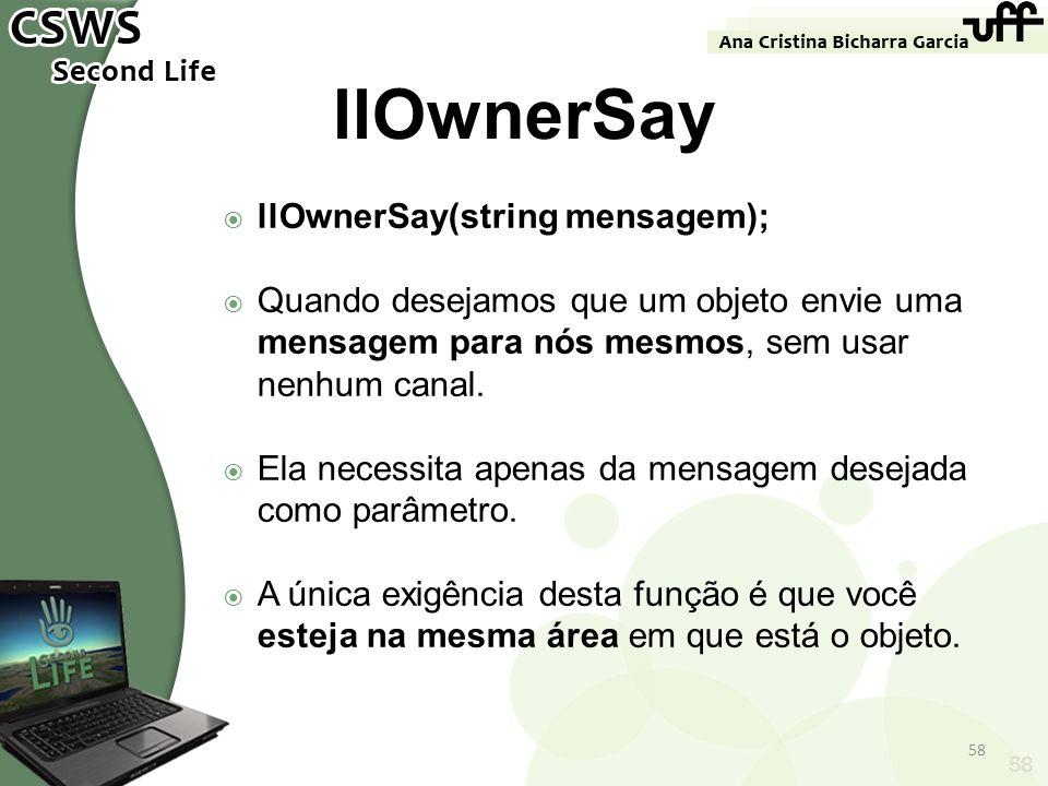 llOwnerSay llOwnerSay(string mensagem);