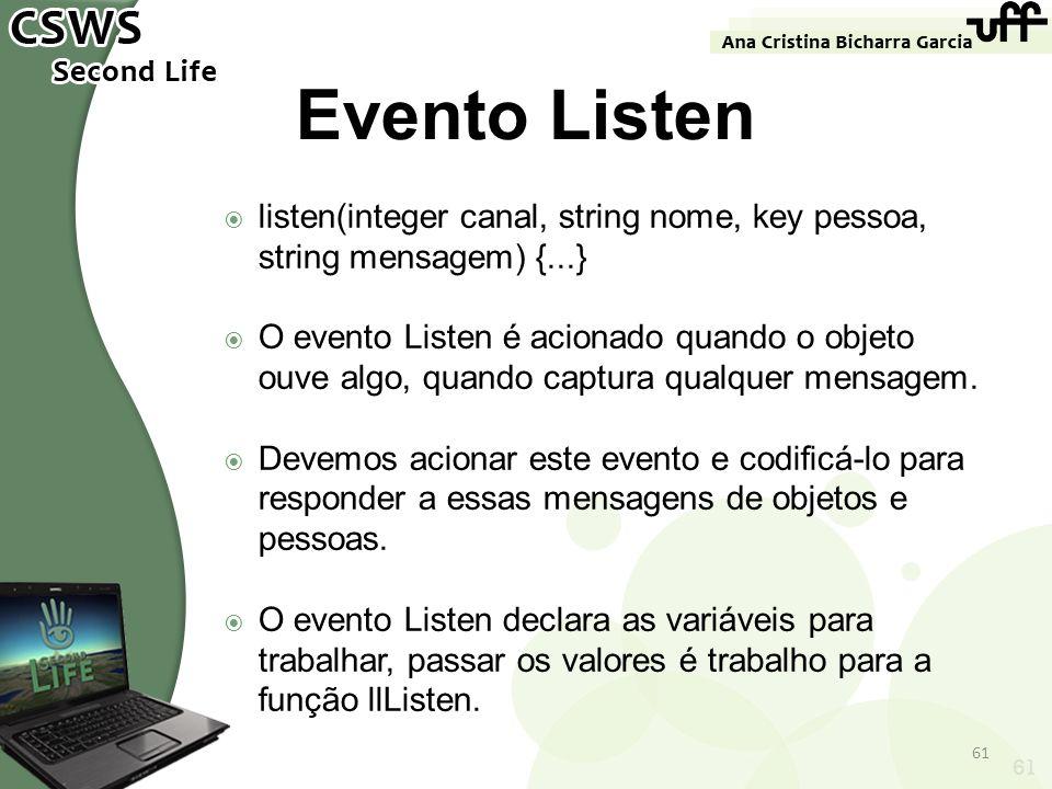 Evento Listenlisten(integer canal, string nome, key pessoa, string mensagem) {...}