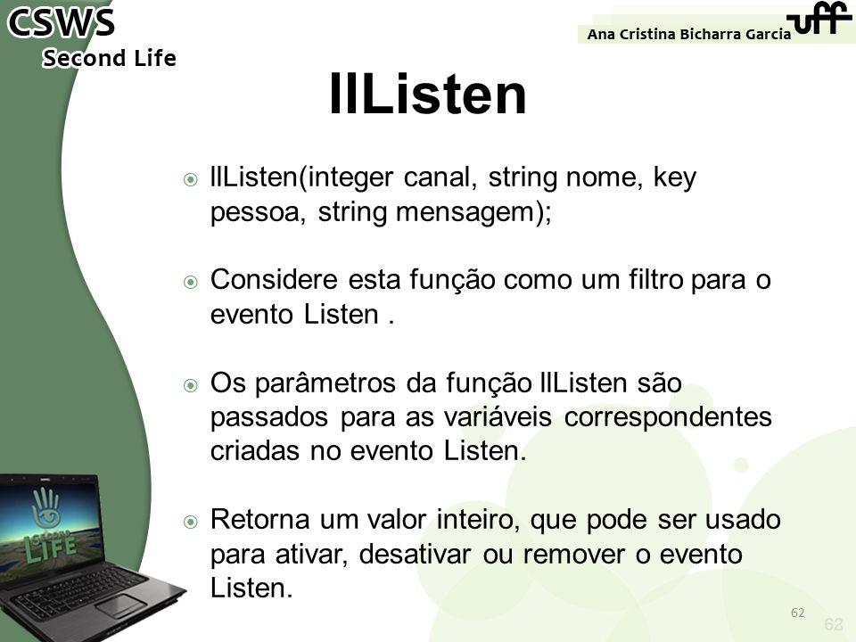 llListen llListen(integer canal, string nome, key pessoa, string mensagem); Considere esta função como um filtro para o evento Listen .