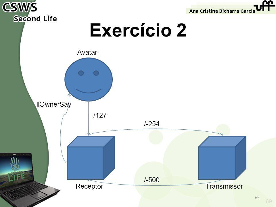 Exercício 2 Avatar llOwnerSay /127 /-254 /-500 Receptor Transmissor 69