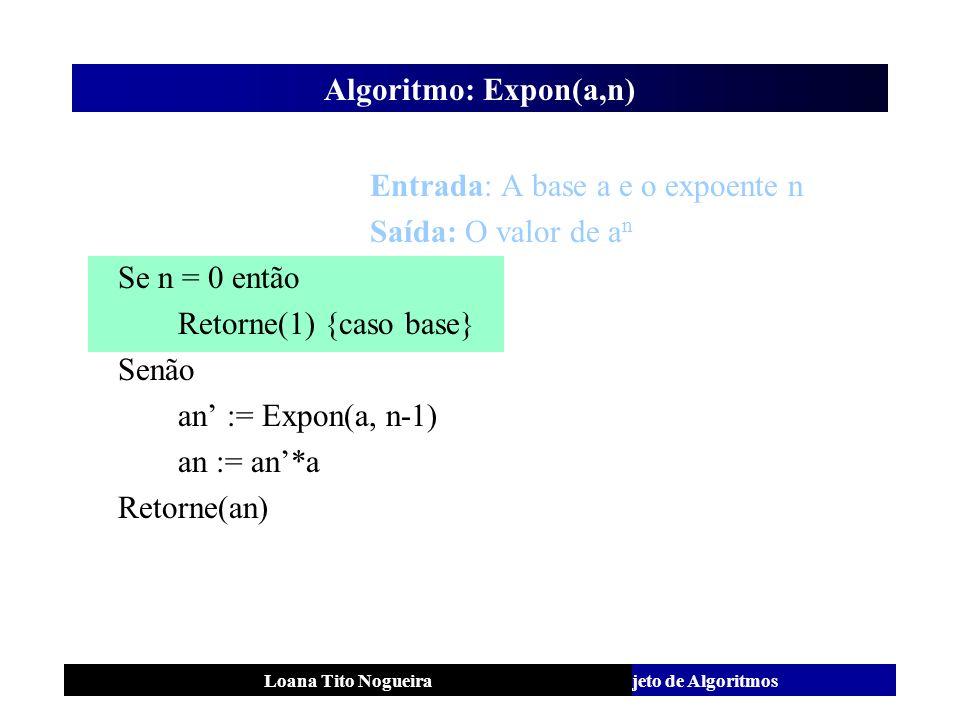 Entrada: A base a e o expoente n Saída: O valor de an Se n = 0 então