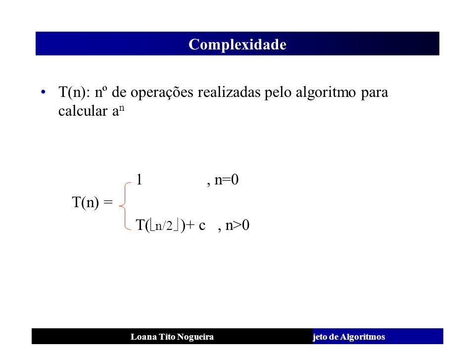 T(n): nº de operações realizadas pelo algoritmo para calcular an