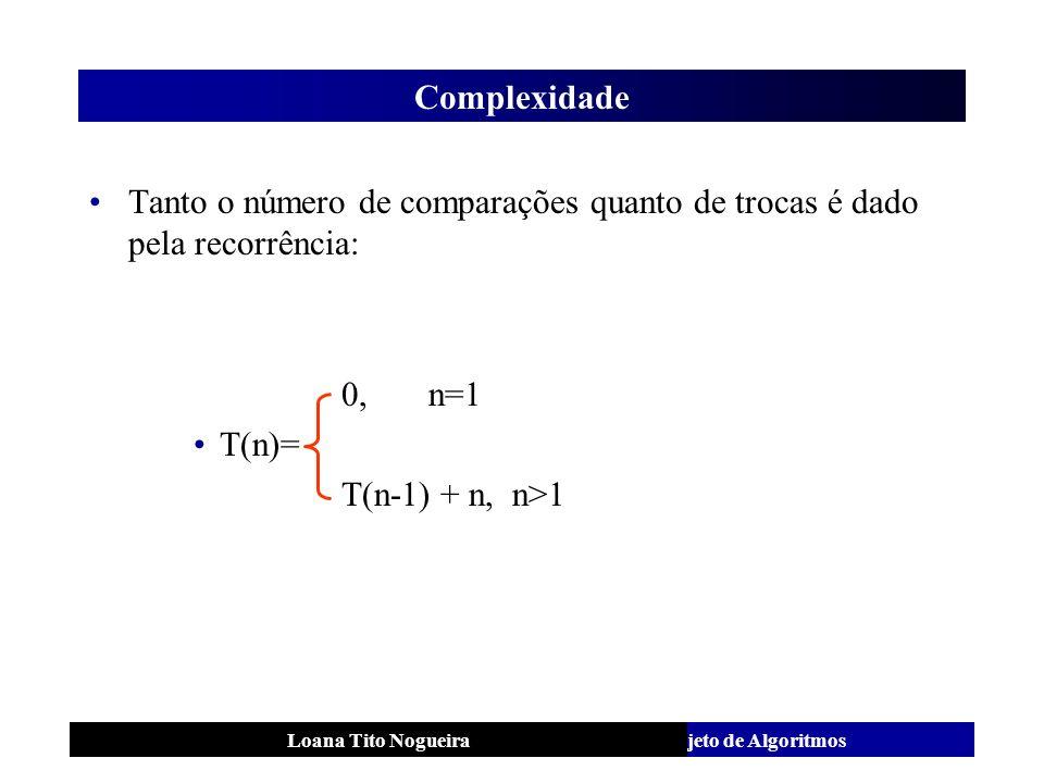 Complexidade Tanto o número de comparações quanto de trocas é dado pela recorrência: 0, n=1.