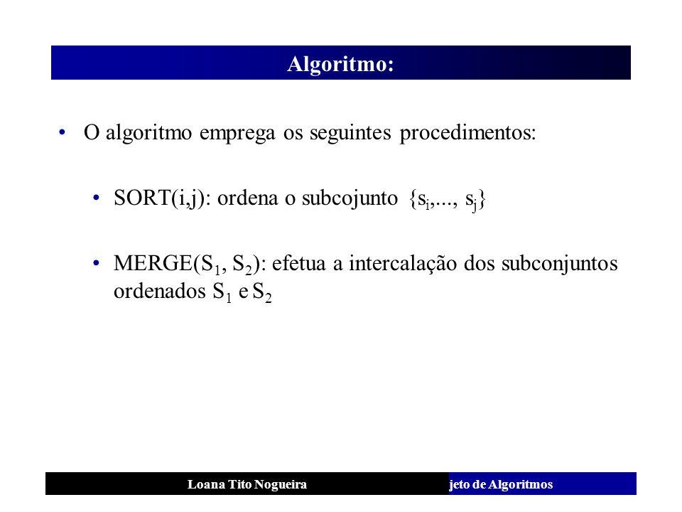O algoritmo emprega os seguintes procedimentos: