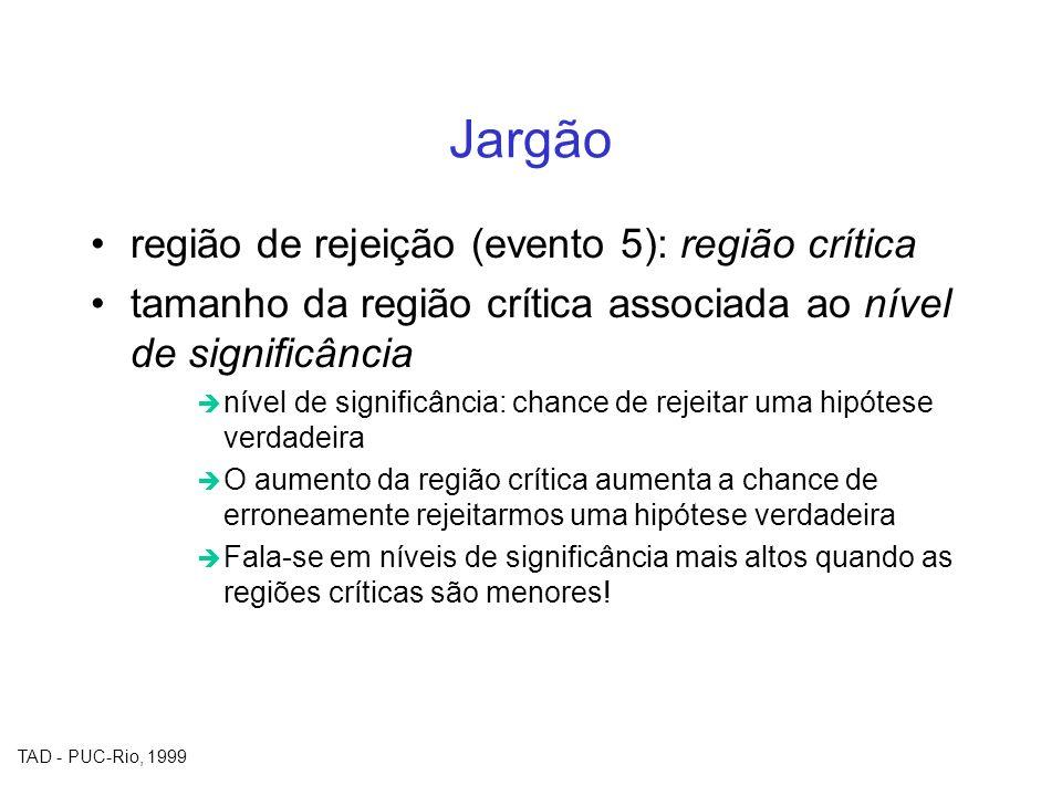 Jargão região de rejeição (evento 5): região crítica