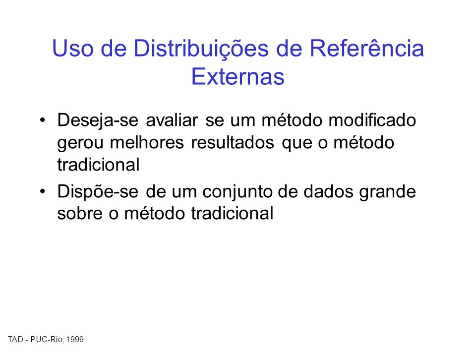 Uso de Distribuições de Referência Externas