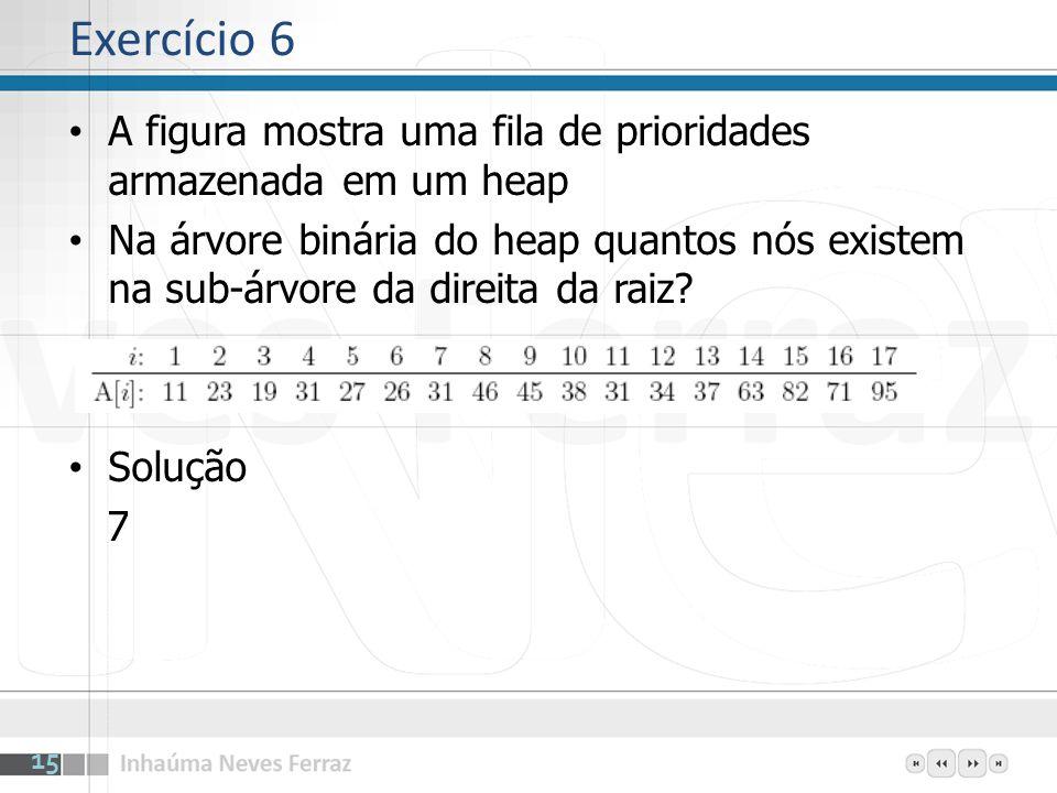 Exercício 6 A figura mostra uma fila de prioridades armazenada em um heap.