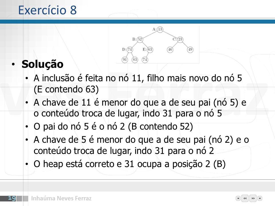 Exercício 8Solução. A inclusão é feita no nó 11, filho mais novo do nó 5 (E contendo 63)