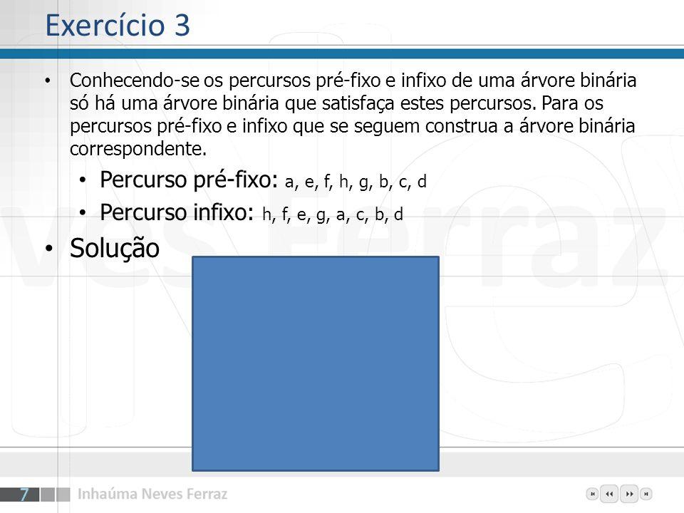 Exercício 3 Solução Percurso pré-fixo: a, e, f, h, g, b, c, d