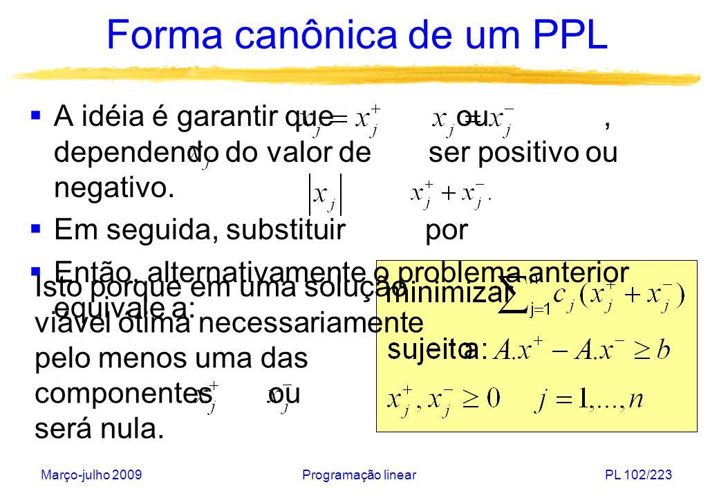 Forma canônica de um PPL
