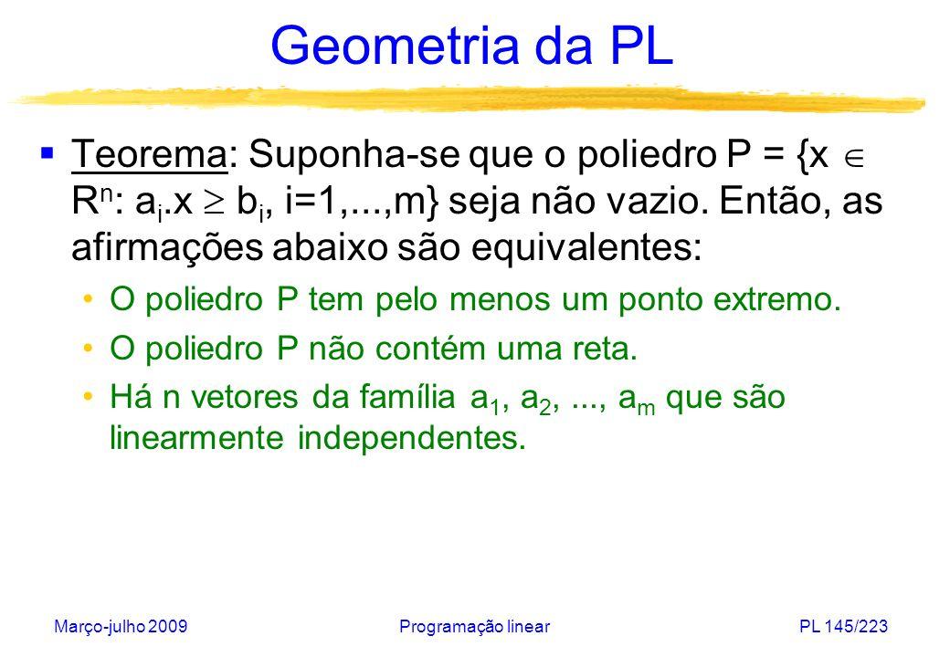 Geometria da PL Teorema: Suponha-se que o poliedro P = {x  Rn: ai.x  bi, i=1,...,m} seja não vazio. Então, as afirmações abaixo são equivalentes: