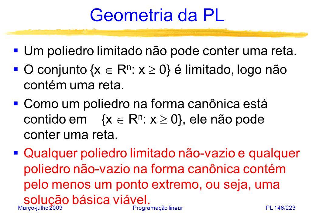 Geometria da PL Um poliedro limitado não pode conter uma reta.