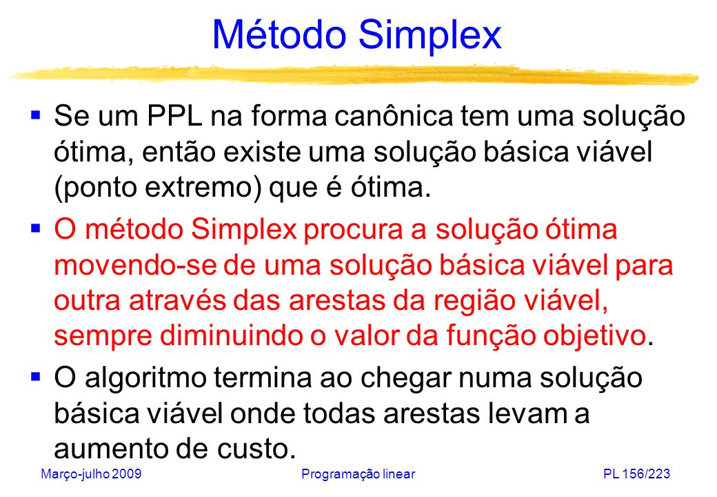 Método Simplex Se um PPL na forma canônica tem uma solução ótima, então existe uma solução básica viável (ponto extremo) que é ótima.