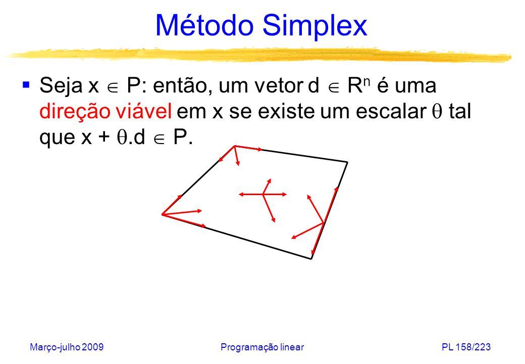 Método Simplex Seja x  P: então, um vetor d  Rn é uma direção viável em x se existe um escalar  tal que x + .d  P.
