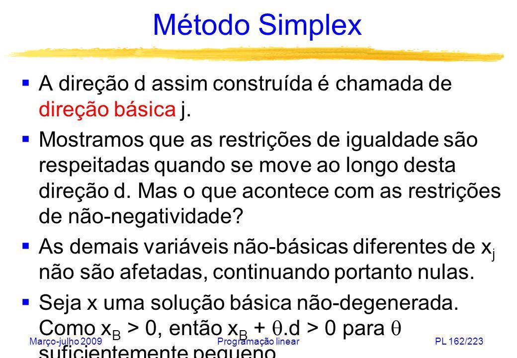 Método Simplex A direção d assim construída é chamada de direção básica j.
