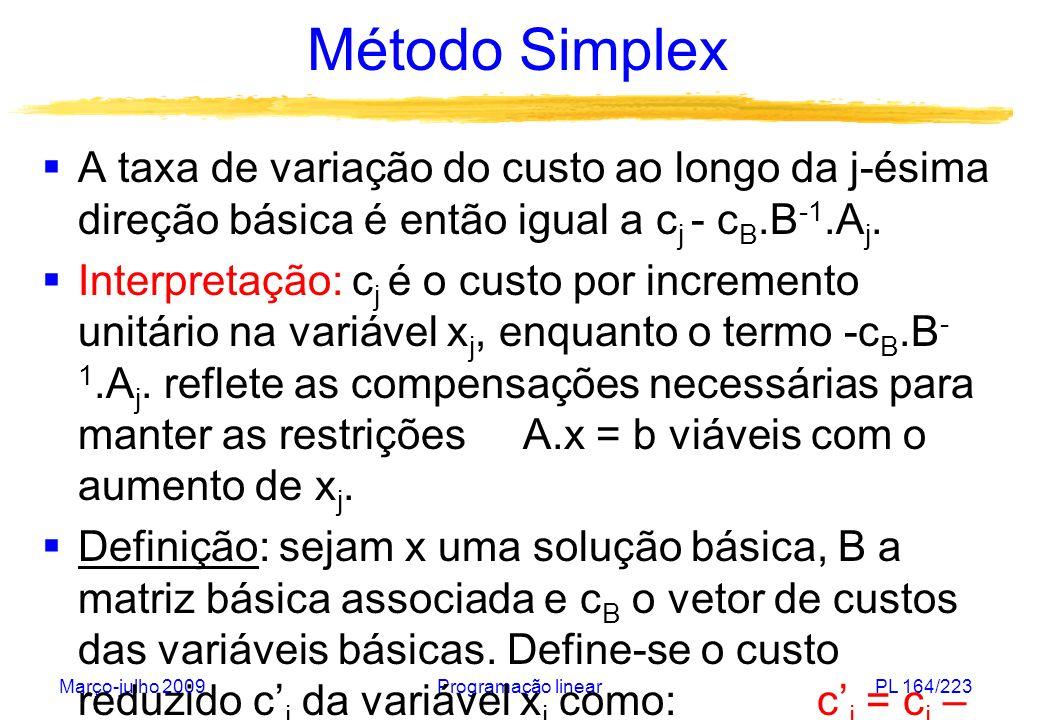 Método Simplex A taxa de variação do custo ao longo da j-ésima direção básica é então igual a cj - cB.B-1.Aj.