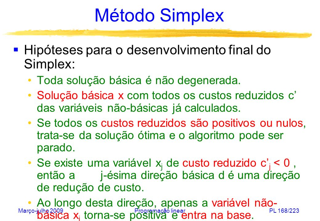 Método Simplex Hipóteses para o desenvolvimento final do Simplex: