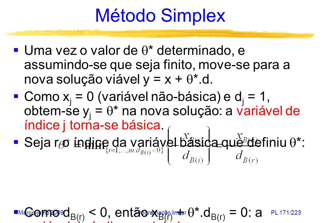 Método SimplexUma vez o valor de * determinado, e assumindo-se que seja finito, move-se para a nova solução viável y = x + *.d.