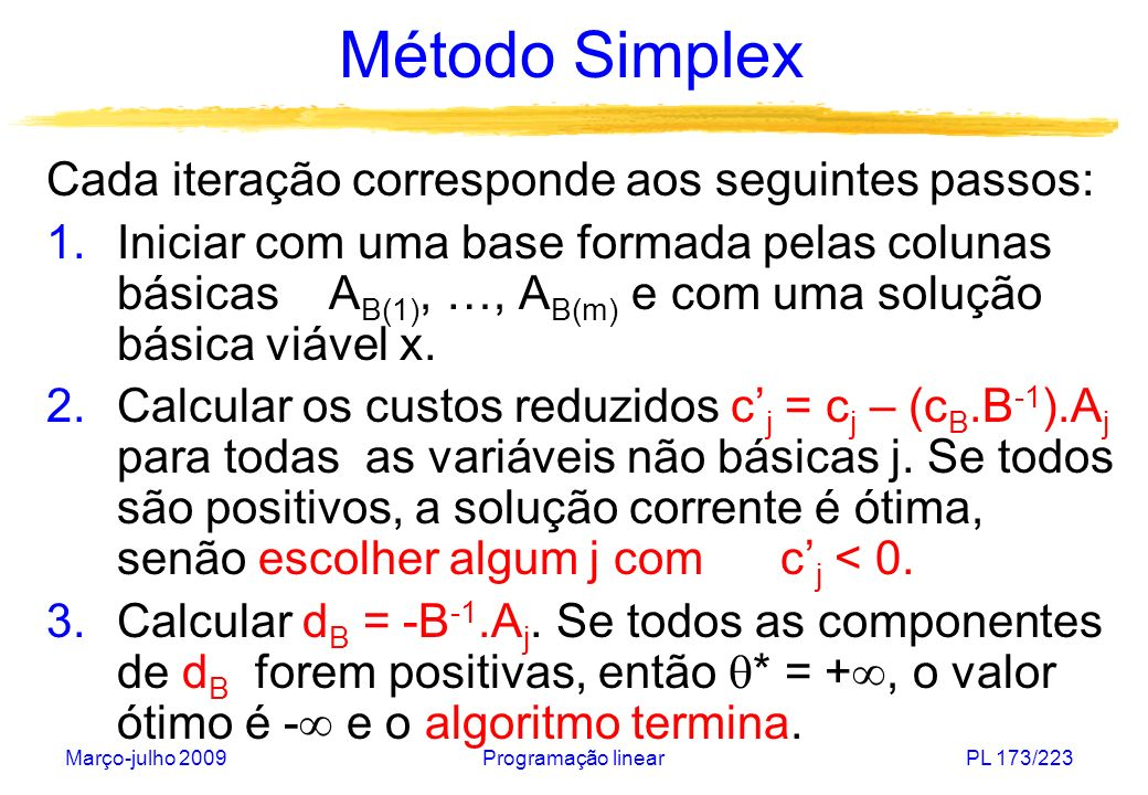 Método Simplex Cada iteração corresponde aos seguintes passos:
