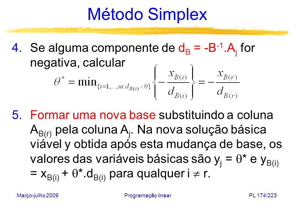 Método Simplex Se alguma componente de dB = -B-1.Aj for negativa, calcular.