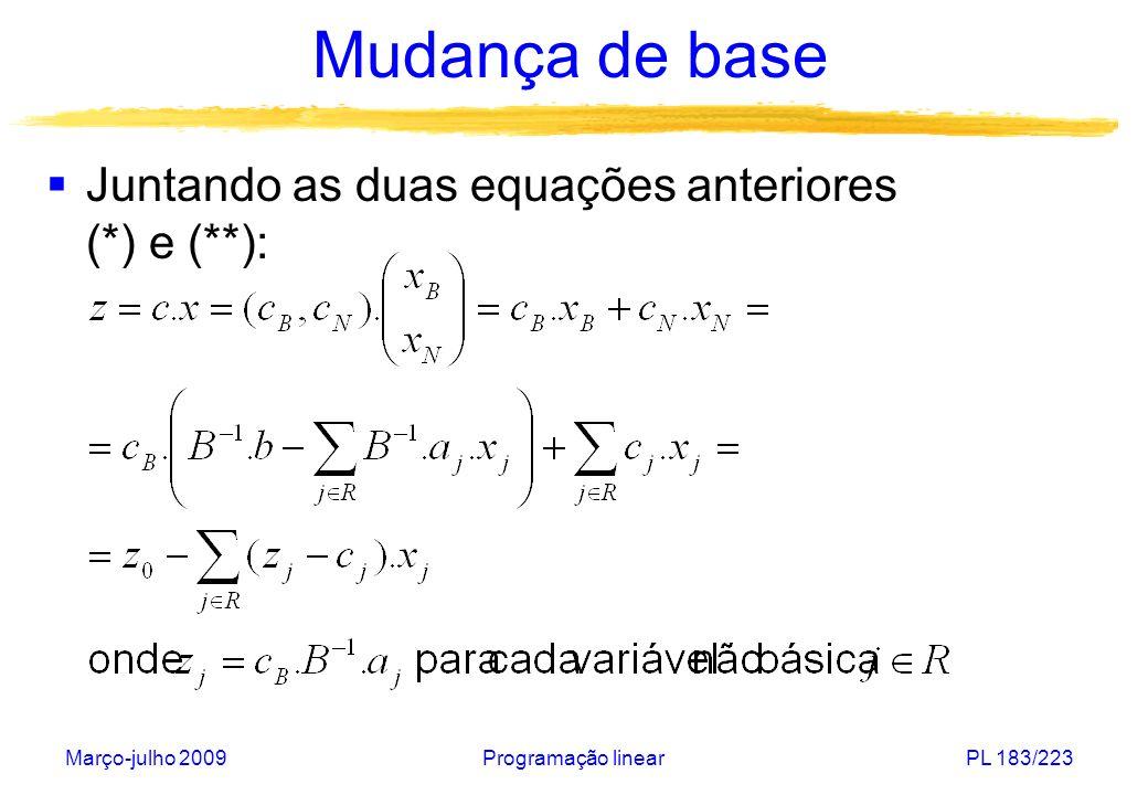 Mudança de base Juntando as duas equações anteriores (*) e (**):