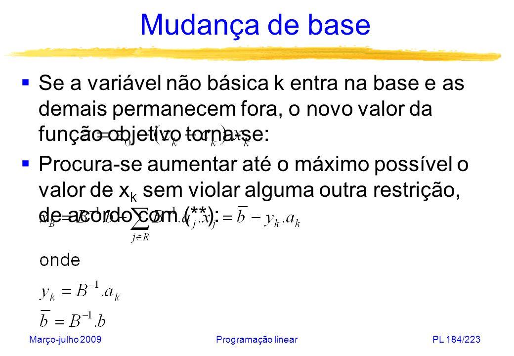 Mudança de base Se a variável não básica k entra na base e as demais permanecem fora, o novo valor da função objetivo torna-se: