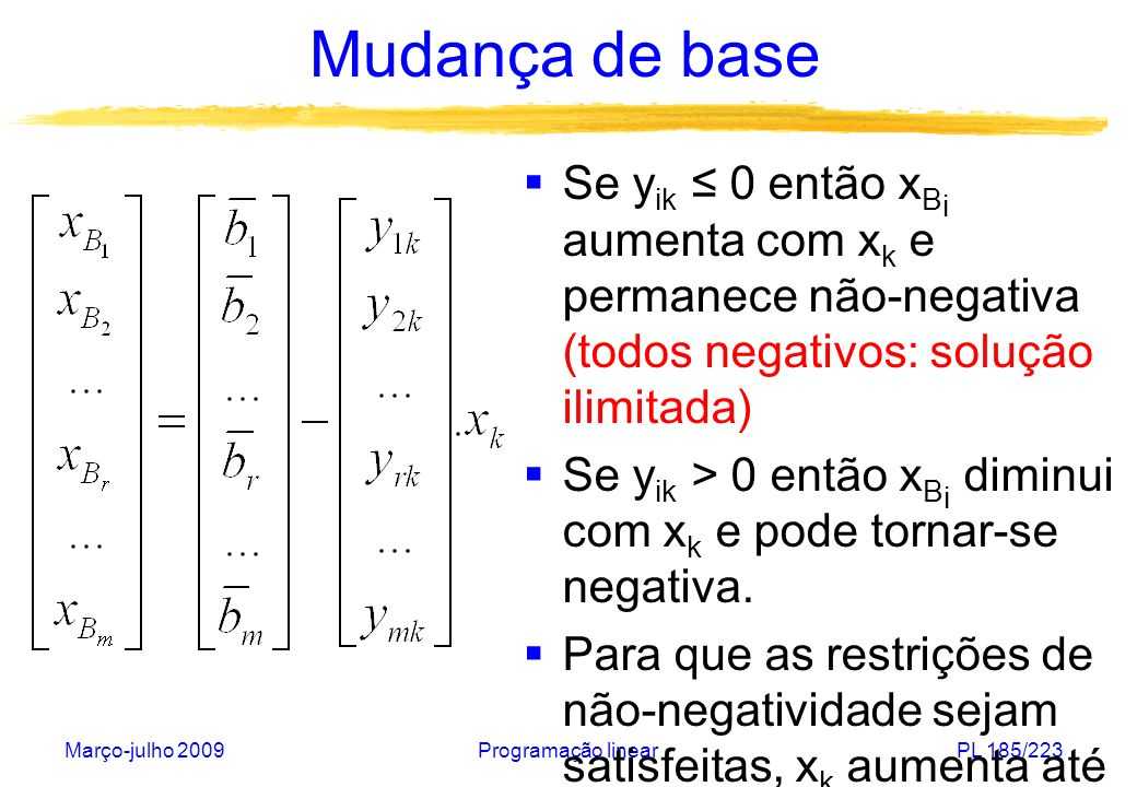 Mudança de base Se yik ≤ 0 então xBi aumenta com xk e permanece não-negativa (todos negativos: solução ilimitada)
