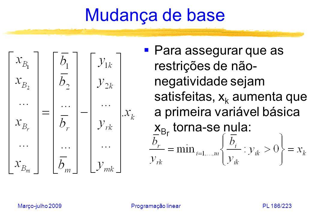 Mudança de base Para assegurar que as restrições de não-negatividade sejam satisfeitas, xk aumenta que a primeira variável básica xBr torna-se nula: