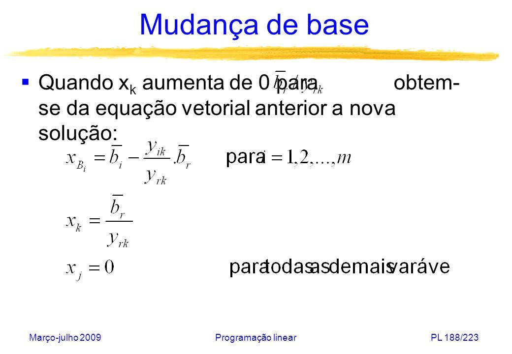 Mudança de base Quando xk aumenta de 0 para obtem-se da equação vetorial anterior a nova solução: