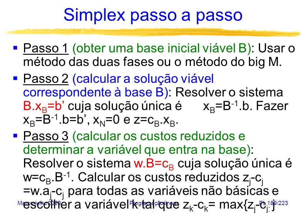Simplex passo a passo Passo 1 (obter uma base inicial viável B): Usar o método das duas fases ou o método do big M.