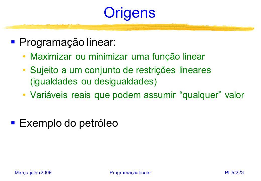 Origens Programação linear: Exemplo do petróleo