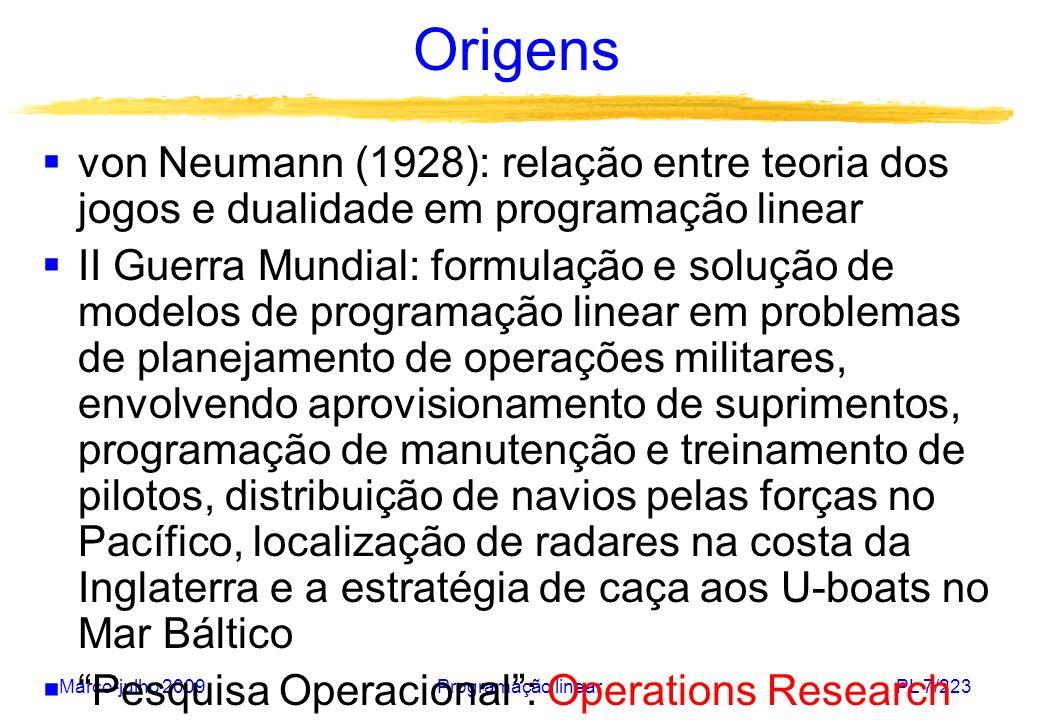 Origens von Neumann (1928): relação entre teoria dos jogos e dualidade em programação linear.