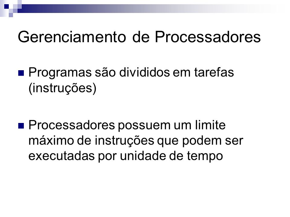 Gerenciamento de Processadores