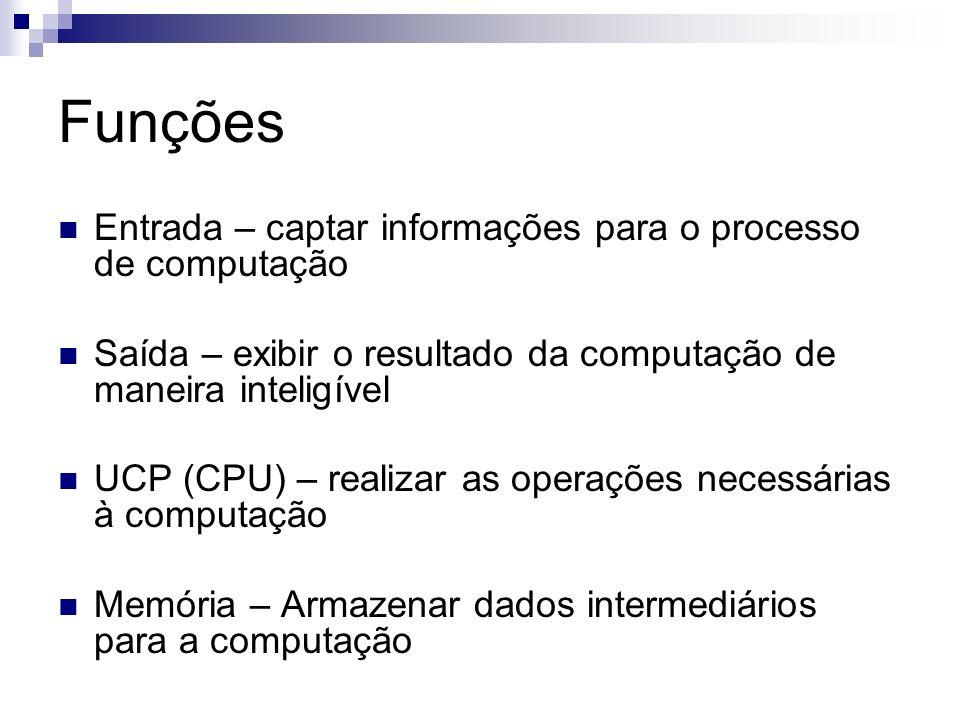 Funções Entrada – captar informações para o processo de computação