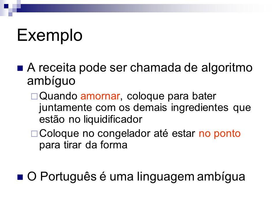Exemplo A receita pode ser chamada de algoritmo ambíguo