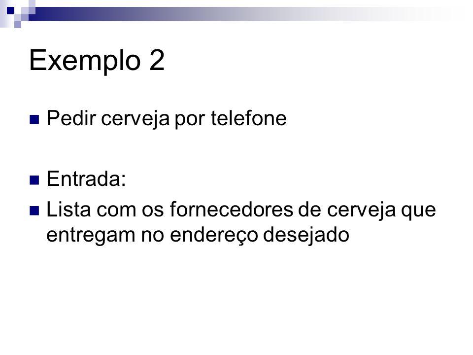 Exemplo 2 Pedir cerveja por telefone Entrada: